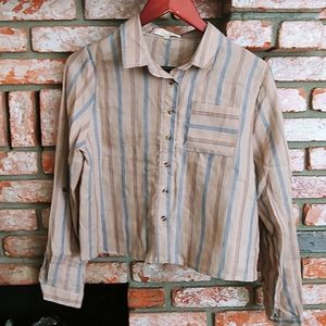 Crop top flannel button up collar shirt
